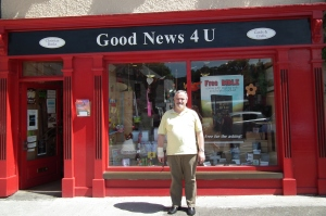 Pastor Paudge Mulvihill in front of the bookshop in Westport